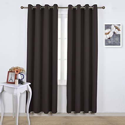 Ponydance Cortinas Opacas Con Ojales Marron Chocolate Telas Termicas - Cortinas-marron-chocolate