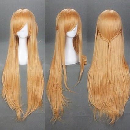 100 cm/40 pulgadas de Sword Art Online SAO Asuna Marrón Cosplay peluca