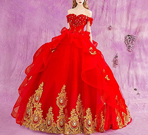 Dress Ball Fuchsia Princess Beaded Modeldress Tulle Applique Quinceanera Shoulder Prom Gown Evening Off qxqPaI7w