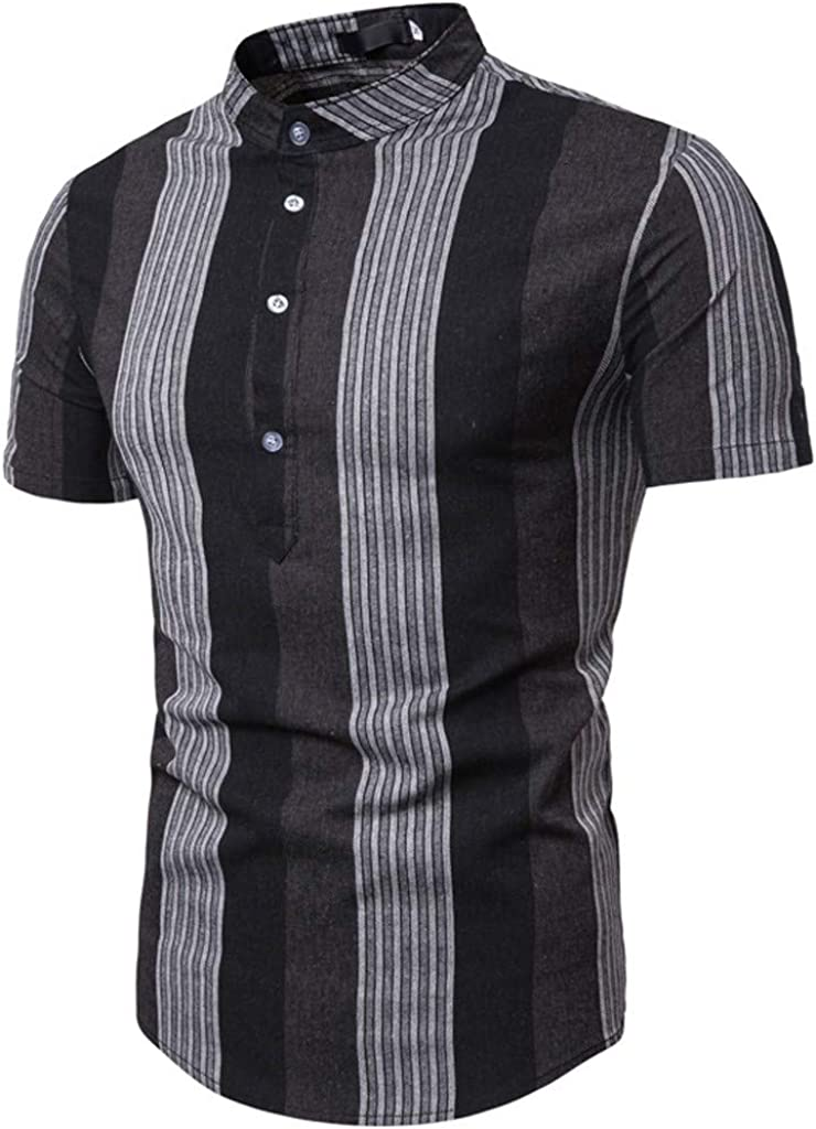 UROSA Mens Casual Short-Sleeved Shirt Summer Striped Stand Tops Blouse 2019