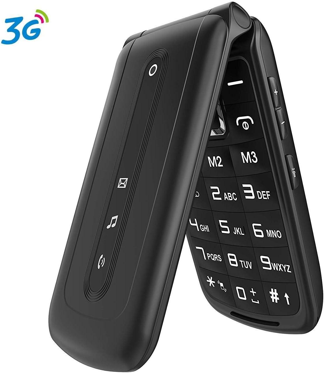Ushining Teléfono Móvil, Teléfono Móvil para Mayores Teclas Grandes con Tapa Pantalla de 2,4 Pulgadas (Emergencia Botón SOS, 2G + 3G, Dual SIM, Cámara, Bluetooth, Reproductor MP3) - Negro
