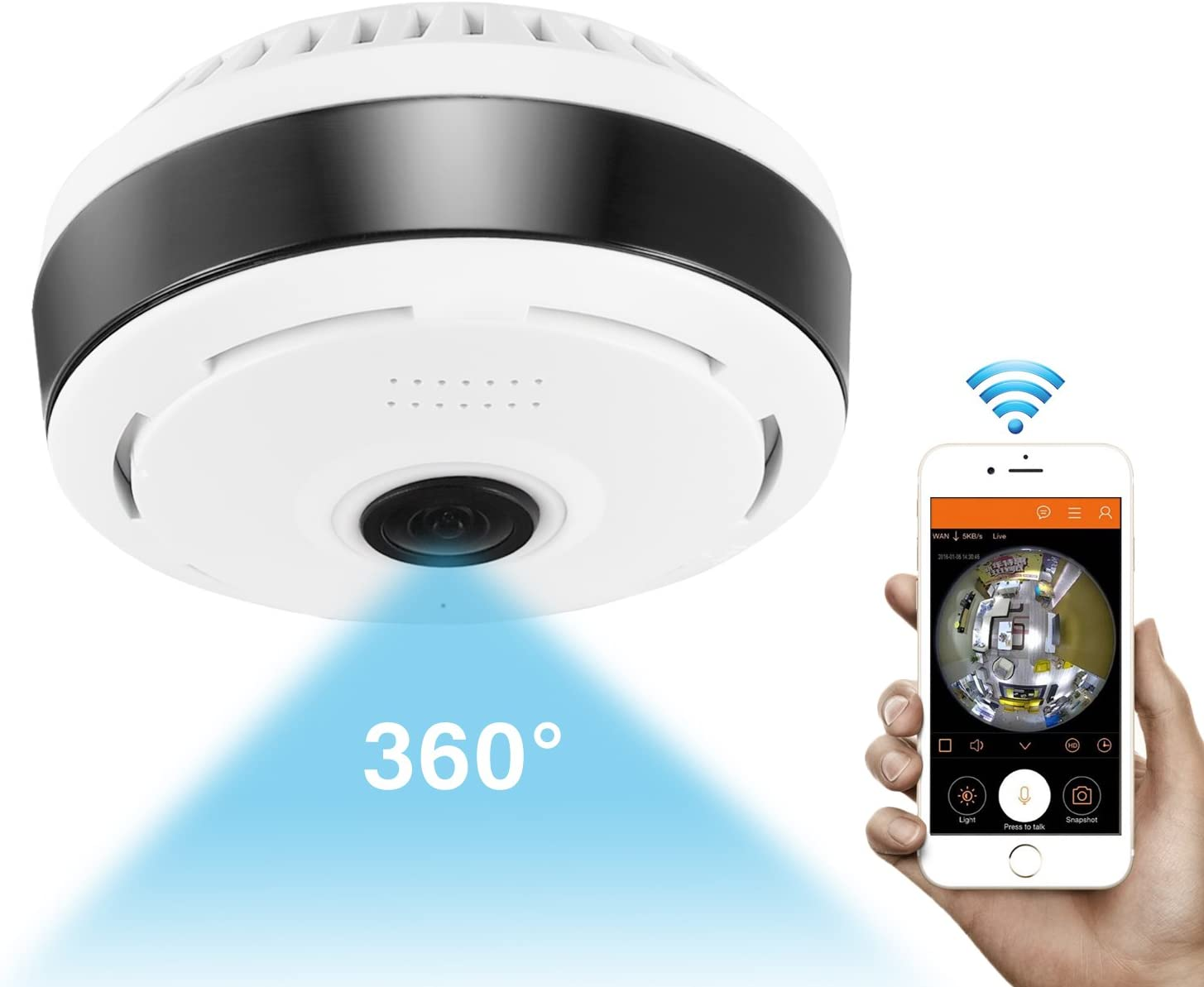 360 Degree Panoramic Camera Wifi Indoor IP Camera Fisheye Baby Monitor with Night Vision 2-way-audio for Kids Pets Home Security Camera System with iOS/Android App for Large Area Monitoring