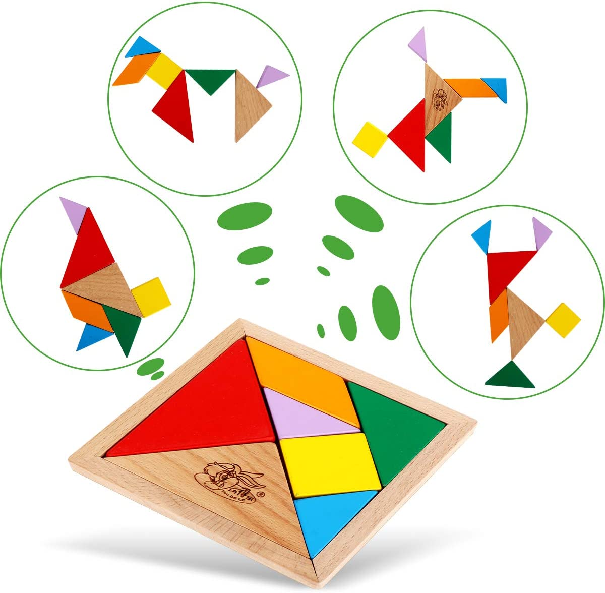 Eye-Hand Coordination Exercise 6 in 1 Cube 3D Wooden Puzzle and A Set of Wooden Tangram Childrens Educational Toys Childrens Brain Thinking and Imagination Stimulation Marine Animal