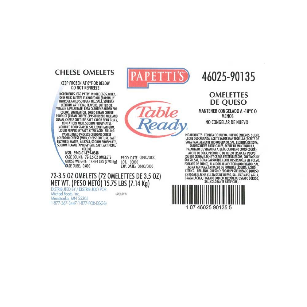 Michael Foods Papettis Cheddar Cheese Omelette, 3.5 Ounce -- 72 per case. by Michael Foods