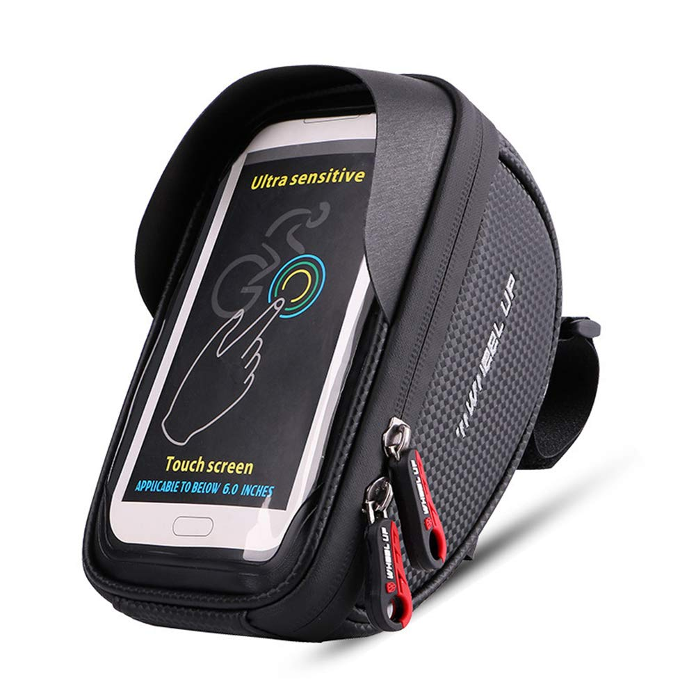 Black Bicycle Front Frame Pack Front Beam Package Riding Phone Bracket Touch Screen Water Repellent 6.0 Inch
