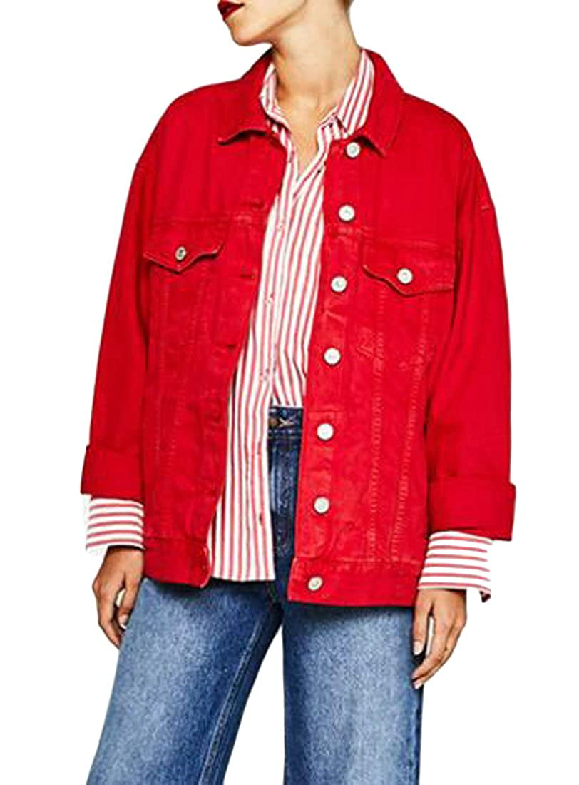 Joe Wenko Womens Denim Motorcycle Long Sleeve Candy Color Coat Jean Casual Jacket
