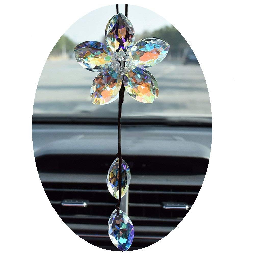 Crystal Flower Car Rear View Mirror Pendant Colorful Car Hanging Ornament Car Accessories Decoration FIANUP