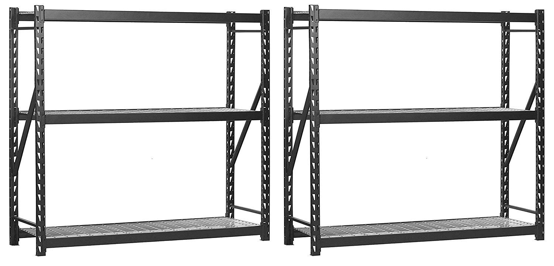 Muscle Rack ERZ772472WL3 Black Heavy Duty Steel Welded Storage Rack, 3 Shelves, 1,000 lb. Capacity per Shelf, 72'' Height x 77'' Width x 24'' Depth (Pack of 2) by Sandusky