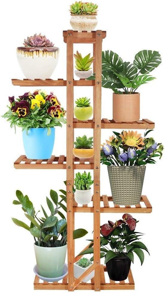 VLikeze Wood Plant Stand, 6 Tier Vertical Flower Rack Display Shelf Organizer Holder for Indoor Outdoor Garden Yard Patio Office Living Room Balcony, with Gardening Tools- (7-12 Pots)