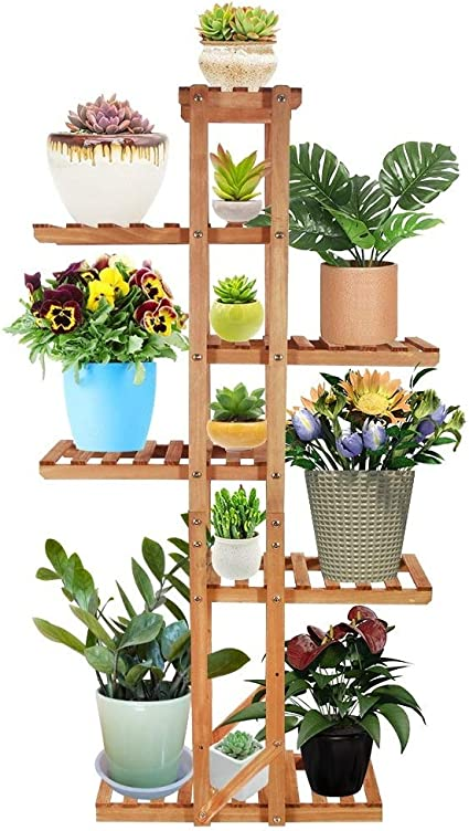 Amazon Com Vlikeze Wood Plant Stand 6 Tier Vertical Flower Rack Display Shelf Organizer Holder For Indoor Outdoor Garden Yard Patio Office Living Room Balcony With Gardening Tools 7 12 Pots Garden Outdoor