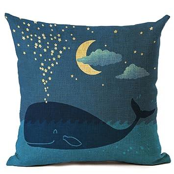 Amazon.com: Fundas de almohada dibujos animados Bonito Azul ...