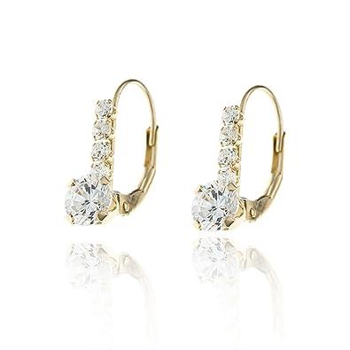 Carissima Gold Women's 9 ct Yellow Gold Cubic Zirconia Flower Drop Earrings xFJNc
