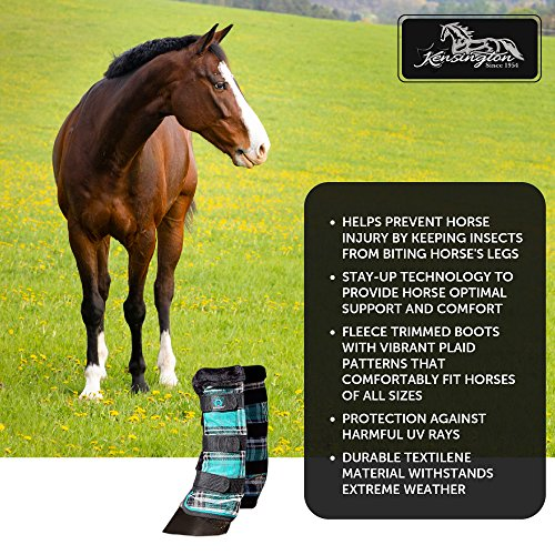 Kensington Horse Fly Boots with Comfortable Fleece Trim — Stay-Up Technology with Velcro Straps — Protection from Insect Bites and UV Rays — Sold in Pairs of 2 (Black Ice Plaid) by kensington products (Image #3)