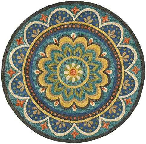 Trade AM Dazzle Round Floral Area Rug, 6 by 6-Feet, Blue