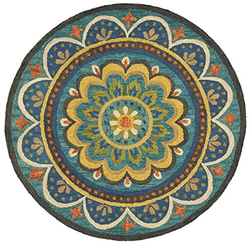 Trade AM Dazzle Round Floral Area Rug, 4 by 4-Feet, Blue