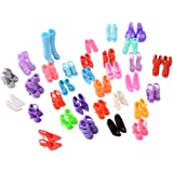 60 Pairs Different High Heel Shoes Boots Outfit Accessories for Barbie Doll Girls Play House Party Xmas Gift Random