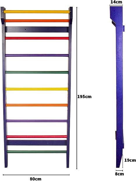 Espalier Fitness de 110kg CCLIFE Espalier Su/édois en Bois 220x80x40cm pour Adulte ou Enfant Choix de Couleur Couleur:Couleur de Bois