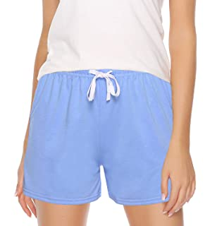 WOAIVOOU Women Solid and Striped Sleep Shorts Stretchy Cotton Pajama Shorts Yoga Gym Bottoms