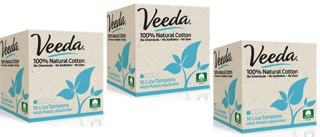 Veeda Natural All-Cotton Tampons, Lite / Light, Compact Applicator, 3 Boxes of 16 Count Each