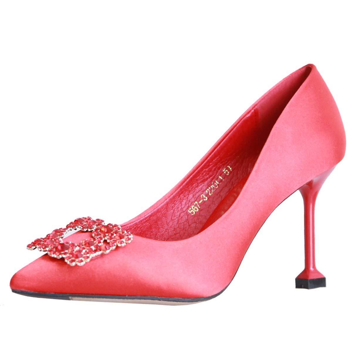 KPHY Damenschuhe/Herbst Roten Hochzeit Schuhe Braut High Heels 8Cm Dünnen Ferse Sagte Wasser Diamond Schuhe Flachen Mund Seide und Satin-Schuhe 34 des