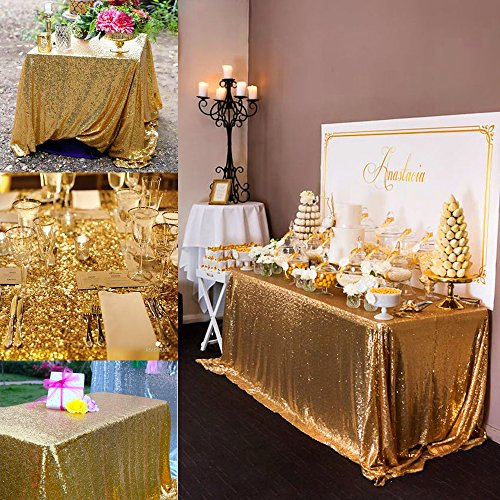 B-COOL Gold Rectangle Sequin Tablecloth 90