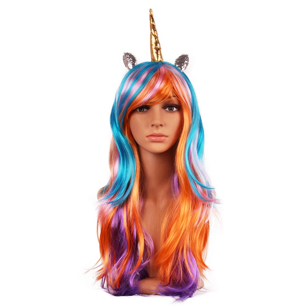 Unicorn Wig - Multi Color Rainbow Wig with Unicorn Horn and Ears