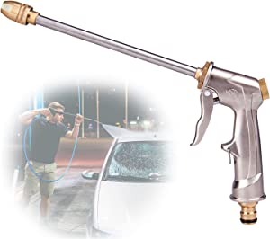 Garden High Pressure Hose Nozzle, Upgrade Car Wash Sprayer, Brass Hose Nozzle Heavy Duty, High Pressure Water Gun Long Nozzle for Car Washing, Outdoor Gardening, Pets Shower, Patio Cleaning(Silver)