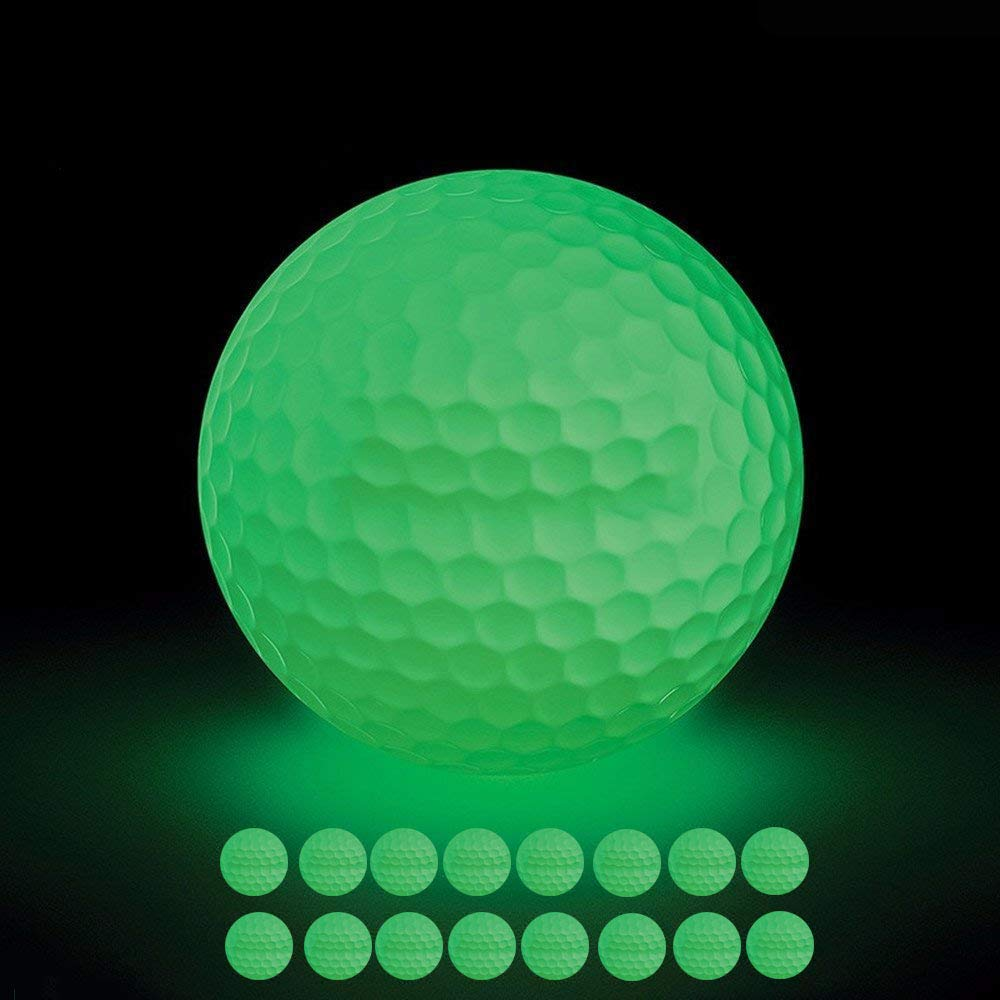 VintageBee 16 Pack Luminous Night Golf Balls Glow in The Dark Best Hitting Tournament Fluorescent Golf Ball Long Lasting Bright Luminous Balls No LED Inside,Rechargeable by Sunlight and Flashlight