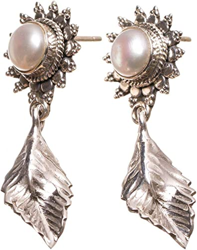 925 Sterling Silver Diamond Shaped Vintage Style Earrings With Mother of Pearl