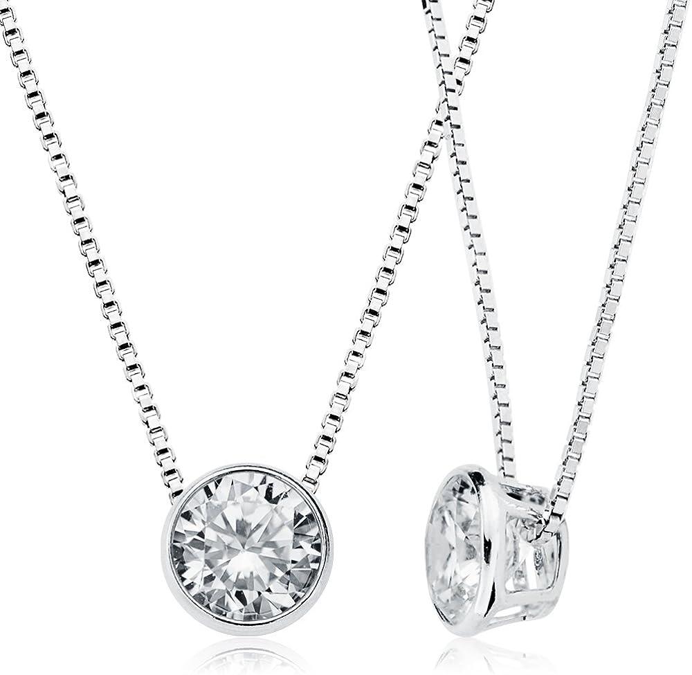 EMPATHY JEWELS Collar de Plata Mujer con Cadena de 42 cm - Colgante de Mujer en Plata de Ley 925 con Zirconitas Perfecto como Regalo Original