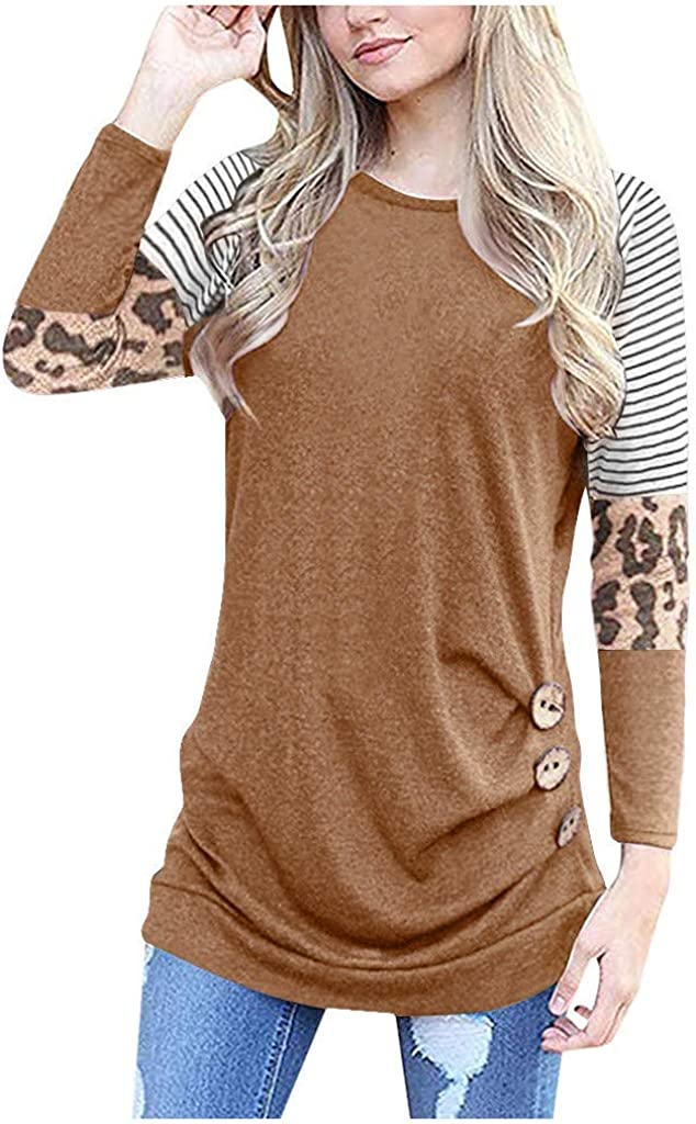 AOJIAN Blouse Women T Shirt Long Sleeve Loose Button Trim Blouse Round Neck 2019