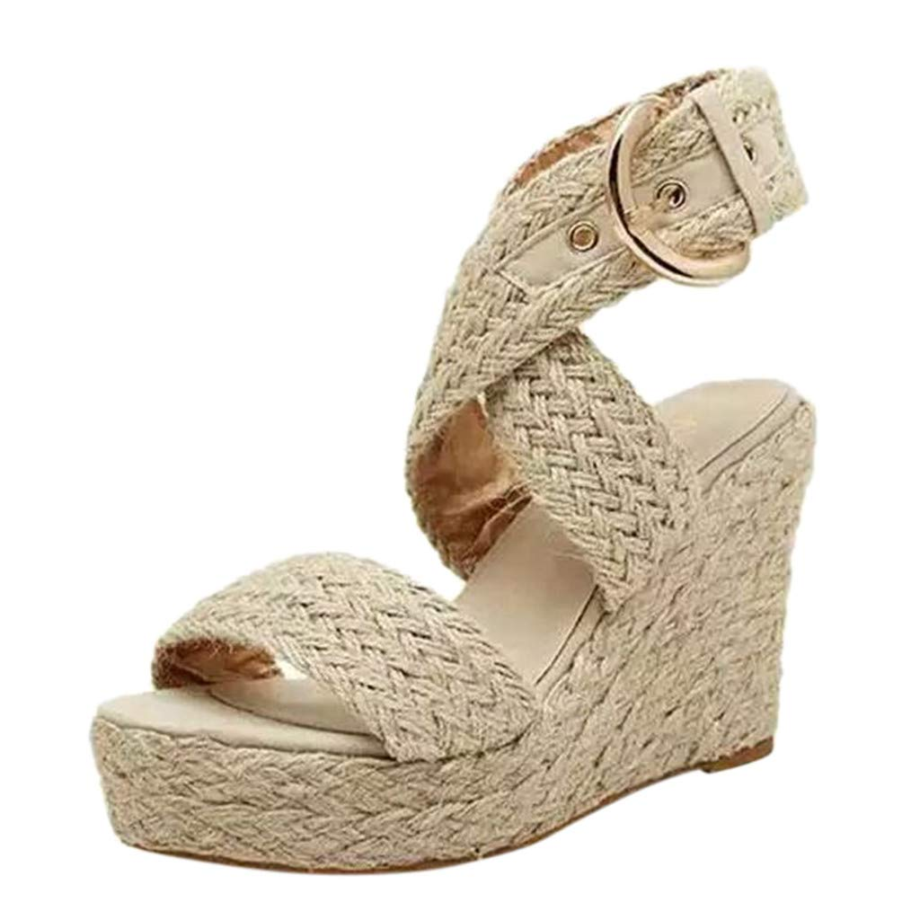 Women's Platform Espadrilles Crisscross Open Toe Ankle Buckle Summer Dress Sandals Fashion Wedges Beige by SSYUNO