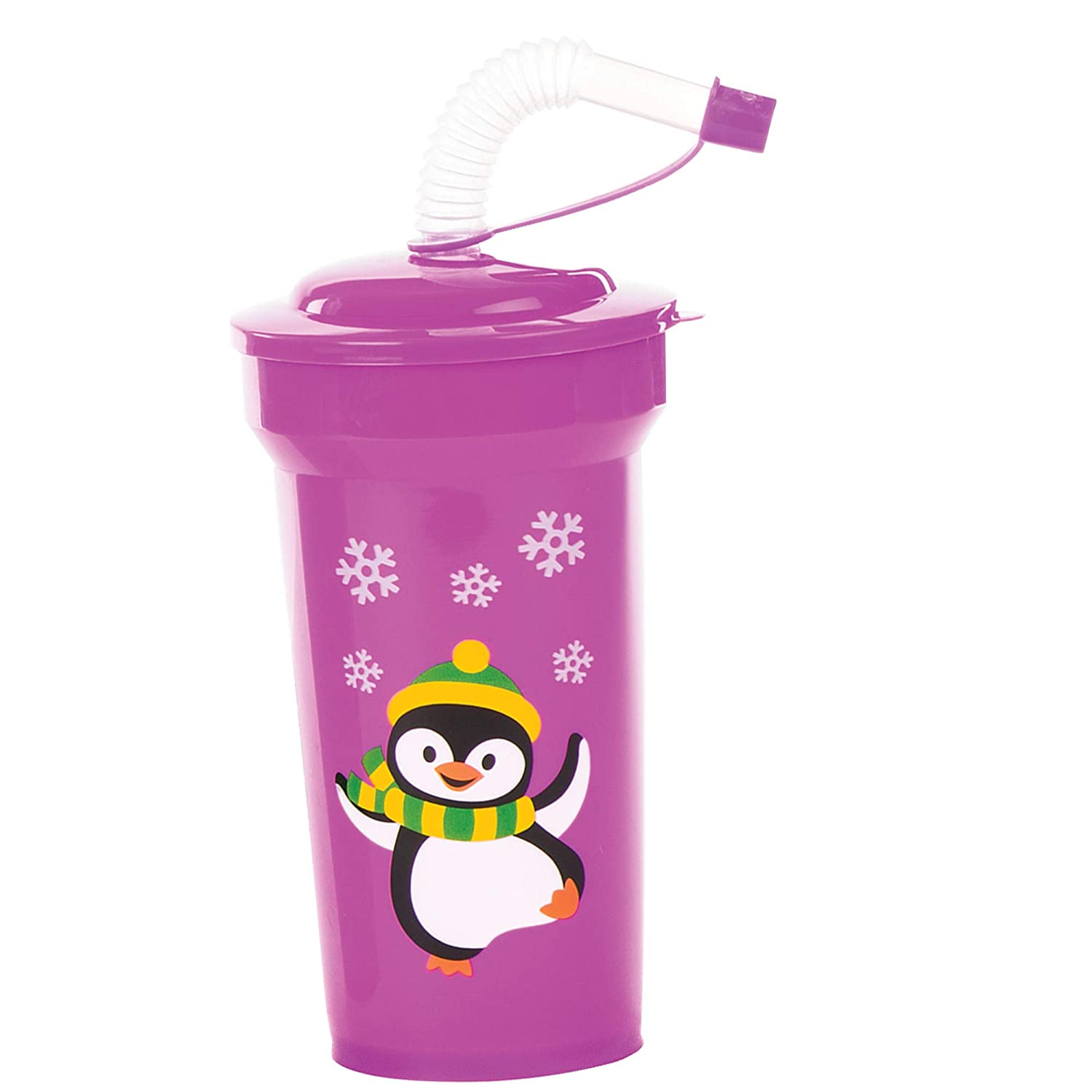 Gifts Baker Ross AV808 Christmas Bendy Straw Cups Ideal for Party Bag Fillers Kids Prizes Pack of 4