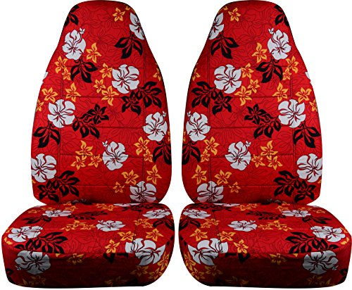 Hawaiian Print Car Seat Covers: Red w Flowers - Semi-Custom Fit - Front - Will Make Fit Any Car/Truck/Van/SUV (6 Prints)