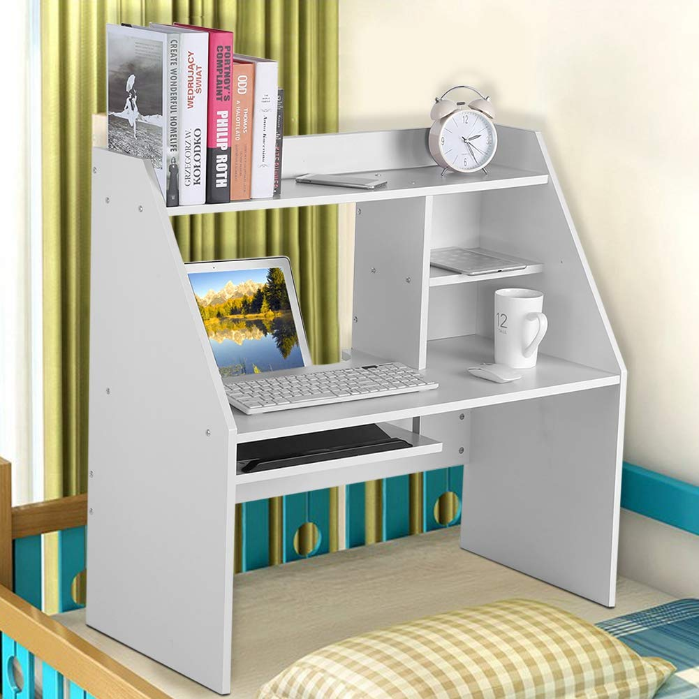 Dwawoo Wooden Storage Shelf, Multifunction Bed Computer Laptop Desk Bed Table for Dormitory Bedroom and More(White) by Dwawoo (Image #5)