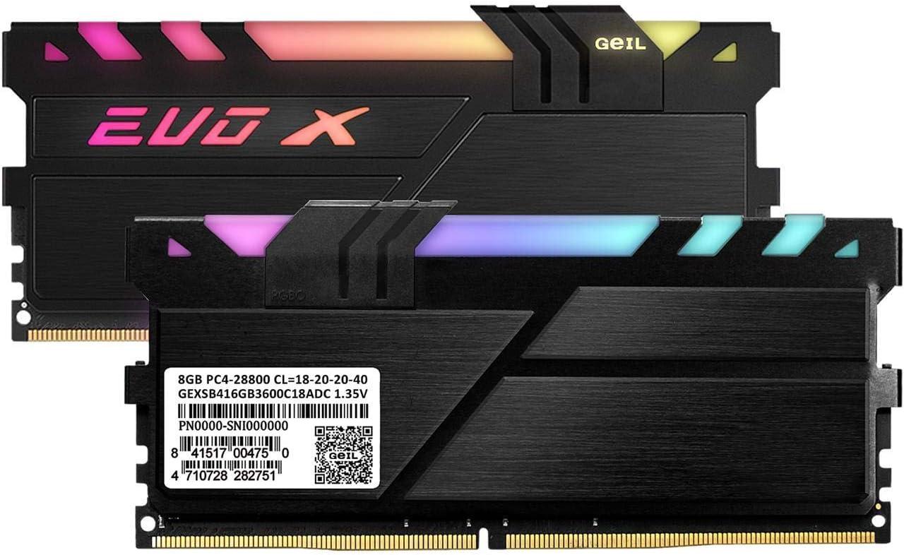 GeIL 16GB 2 x 8GB EVO X II DDR4 PC4-28800 3600 MHz 288-Pin Desktop Memory Model GEXSB416GB3600C18ADC