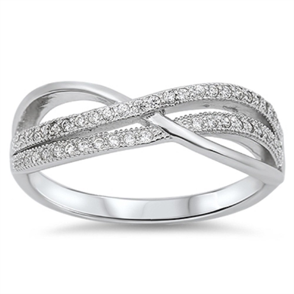 CloseoutWarehouse Cubic Zirconia Infinity Abstract Ring Sterling Silver Size 8