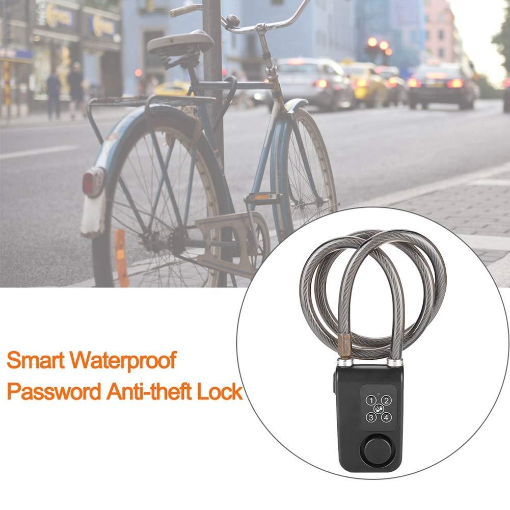 Compatible with Bluetooth Waterproof Password Bicycle Lock with 110db Alarm APP Control Wireless High Security Keyless Anti-Theft Smart Locks Smart Bike Lock