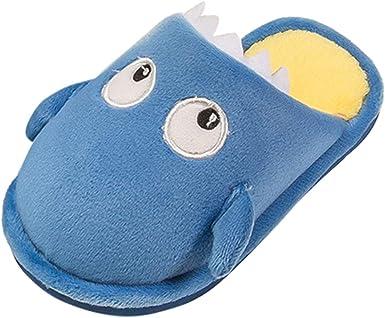 Kids Winter Shoes Toddler Boys Girls Cartoon Shoes Soft Sole Anti-slip Plush Warm Slippers age: 6-8Years, Dark Blue