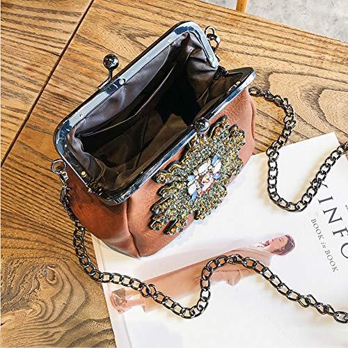 Bolsa Sra Impermeable Cadena Hwx Multifuncional Holding Diagonal Mujer Para Un A Cena La Clip De Bag Antirrobo Trend Tote Pu Retro Small Bolso SxxRTw