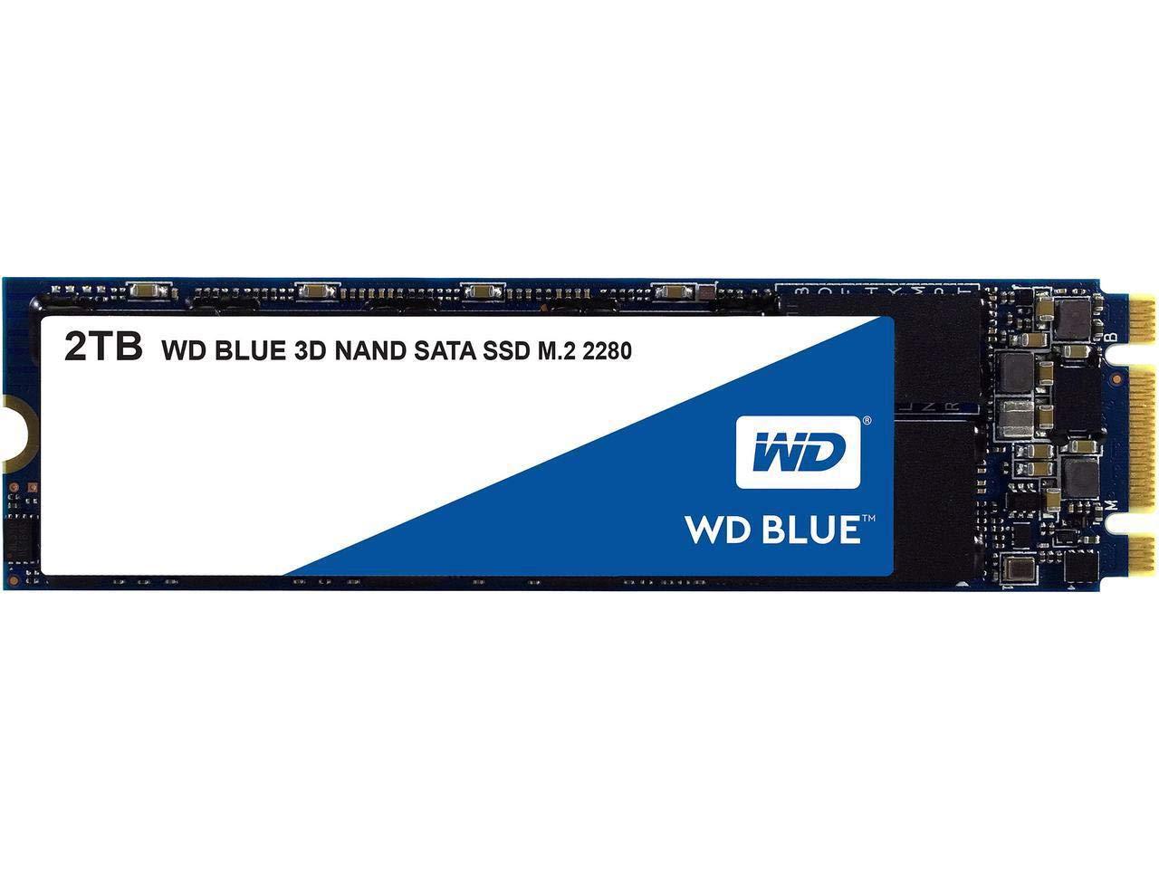 WD Blue 3D NAND 2TB PC SSD - SATA III 6 Gb/s, M.2 2280 - WDS200T2B0B by Western Digital (Image #1)