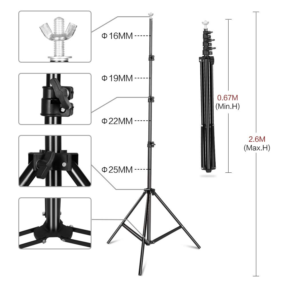 SH 2.6 X 3M Adjustable Background Stand Background Support Kit Removable with Carry Bag for Hanging Background Cloth by SH (Image #2)