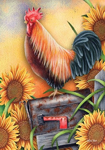 Briarwood Lane Good Morning Rooster Autumn House Flag Sunflowers Fall 28