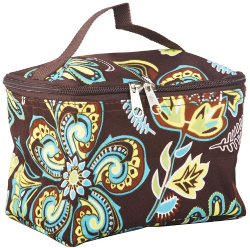 Brown and Turquoise Blue Paisley Floral Cosmetic Makeup Travel Case, Bags Central