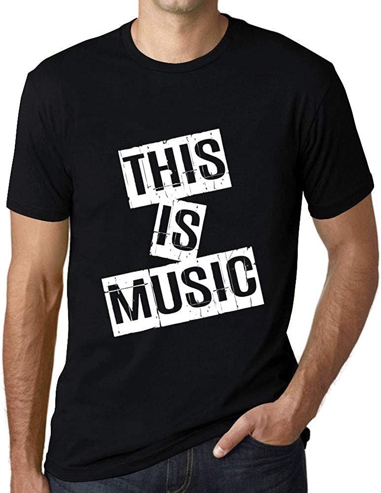 Ultrabasic - Men's Graphic This is Music Gift T-Shirt Letter Print Tee Deep Black