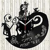The Nightmare Before Christmas Jack Sally Vinyl Record Wall Clock Decor Handmade Unique Design Original Gift