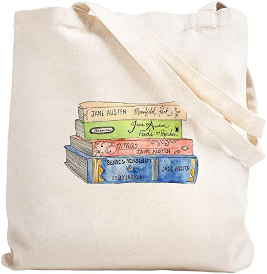 CafePress Jane Austen - Bolsa para libros, lona, caqui, medium: Amazon.es: Hogar