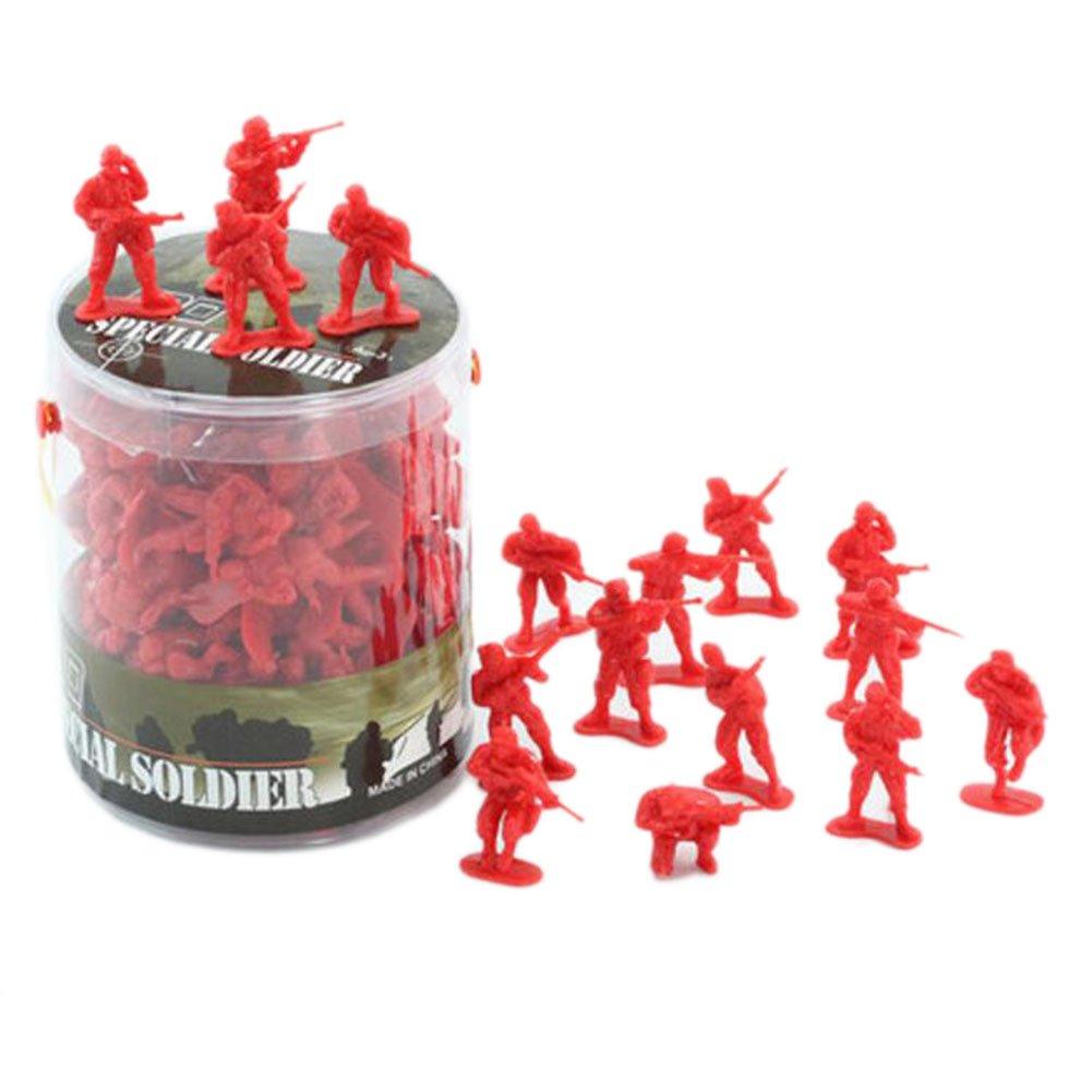 Black Temptation 100 Pcs Toy Soldats Cadeaux / Voitures / Camions / Tracteurs / Toy Guns Models -Rouge Soldats 1:32
