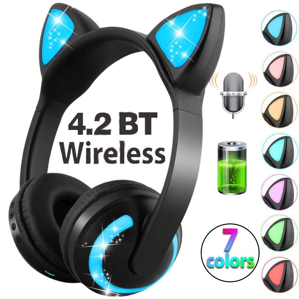 キッズ猫ヘッドフォン Bluetoothワイヤレスマイク 充電式ボリュームコントロール 7色LEDライト オン/オーバーイヤーゲームヘッドセット 大人 女の子 男の子 タブレット 電話 学校 旅行 電子音楽デバイス Hyanwoo  2.Black B07GFCVHJ2