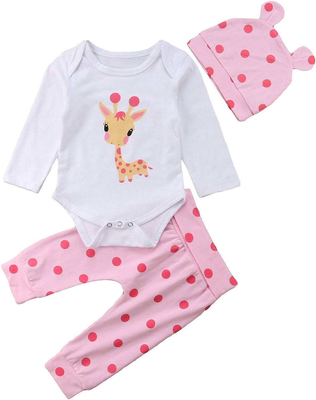 4PCS Newborn Infant Baby Girls Outfit Clothes Romper Jumpsuit Bodysuit+Pants Set